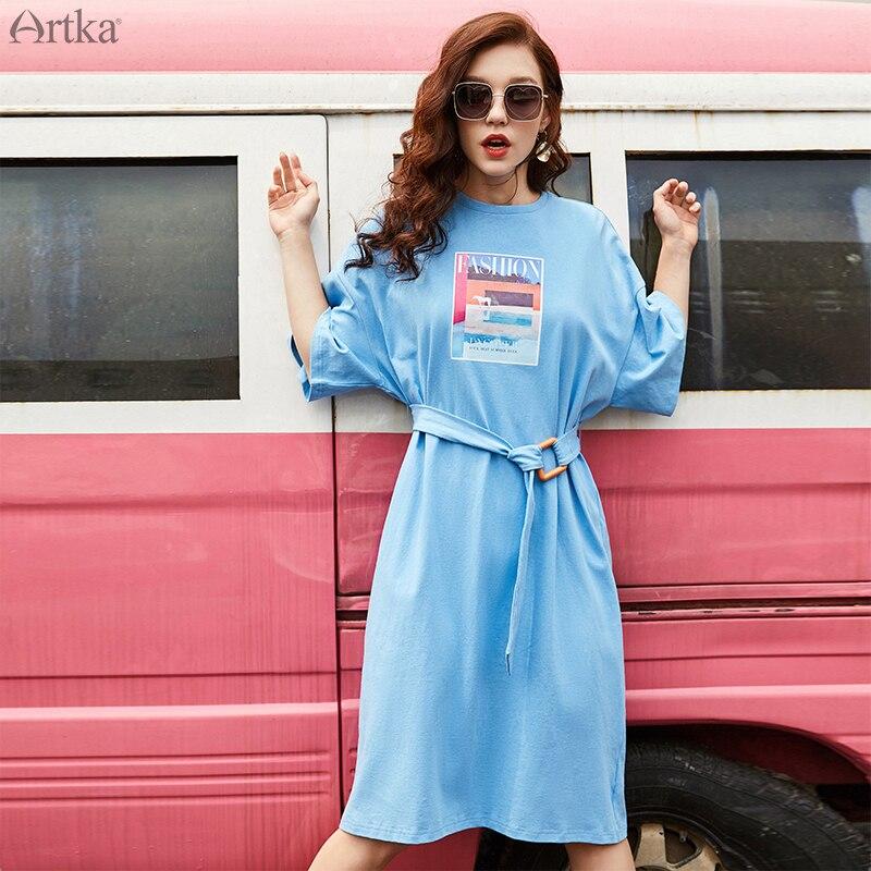 ARTKA 2019 Summer Women Dress Casual Loose Fashion Print T shirt Dress With Belt Short Sleeve