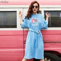 ARTKA 2019 Summer Women Dress Casual Loose Fashion Print T shirt Dress With Belt Short Sleeve T shirt Dresses For Women ZA10096C