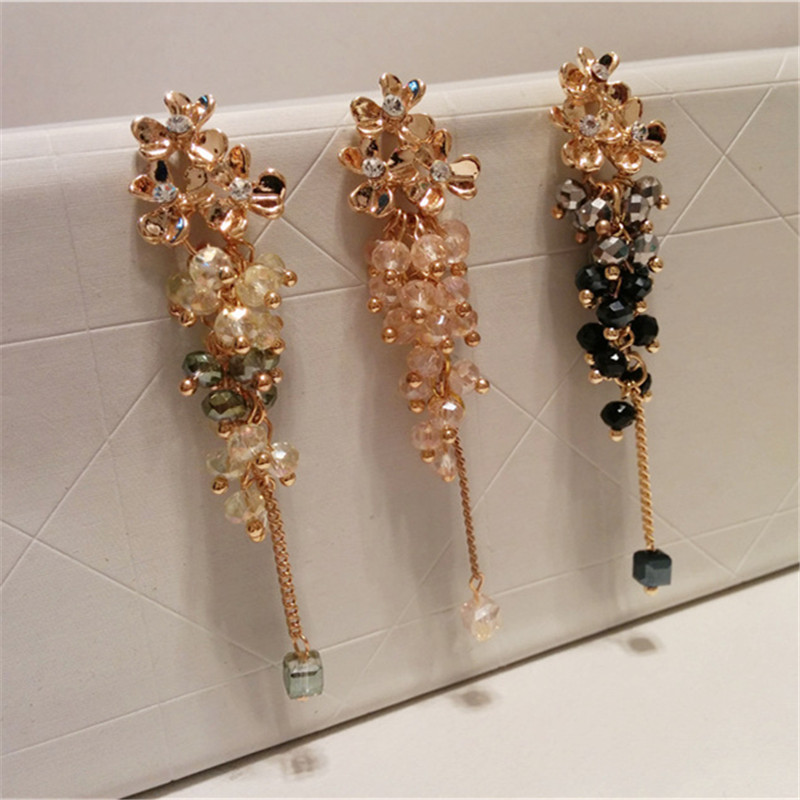 Ajojewel Trendy Smuk Crystal Beaded Tassel Drop Øreringe Flower Long - Mode smykker - Foto 5
