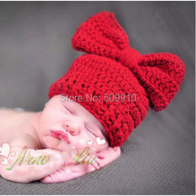 Retail Children Accessories Newborn Infant Handmade Crochet Baby Bow Hat Knit Photography Photo Props XDT-137