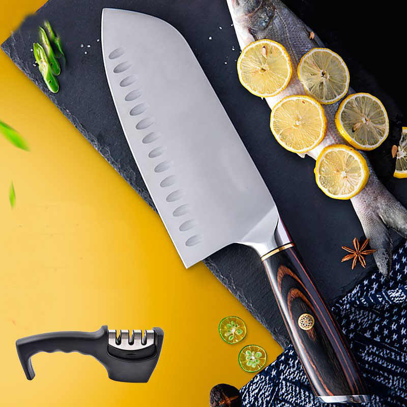 Liang Da Brand Cooking Tools High Quality Stainless Steel Knife 7 inch Japanese Cooking Knife Very Sharp Santoku Kitchen Knife