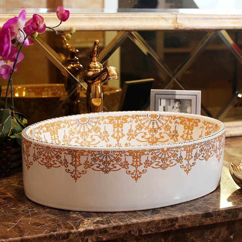 Ovale Form Europa stil Jingdezhen keramik waschbecken waschbecken ...