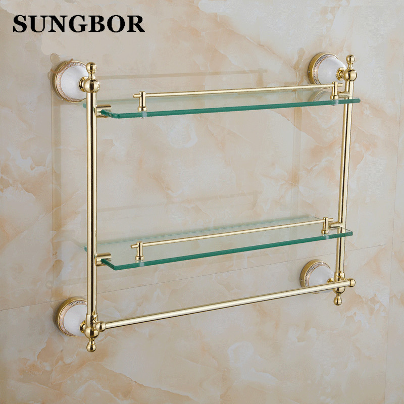 Vetro di lusso mensole bagno di rame dorato accessori per il bagno ...
