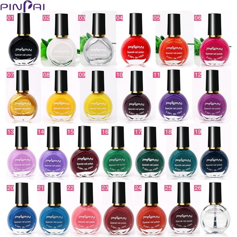 PinPai 10 ml 26 צבעים נייל הדפסת Stamping פולני צבע ציפורניים Stamping פולני פלורסנט אמנות לכה מניקור לכה
