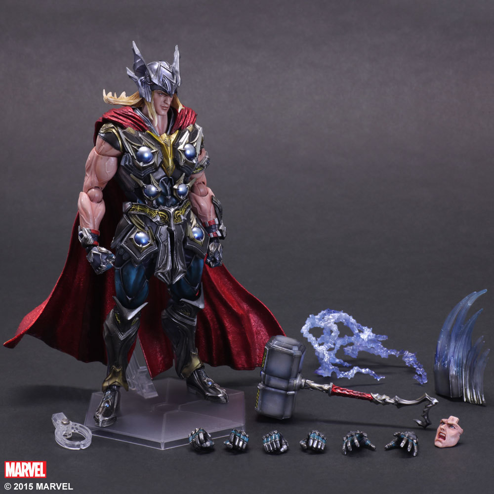 27cm Play Arts Kai PA Thor Figure Super Hero Hammer  PVC Action Figure Doll Toys Kids Gift