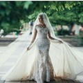 Vintage Lace Long Sleeves Mermaid Wedding Dress With Detachable Skirt Appliques Overskirt Bridal Gowns 2 in 1 Wedding Dresses