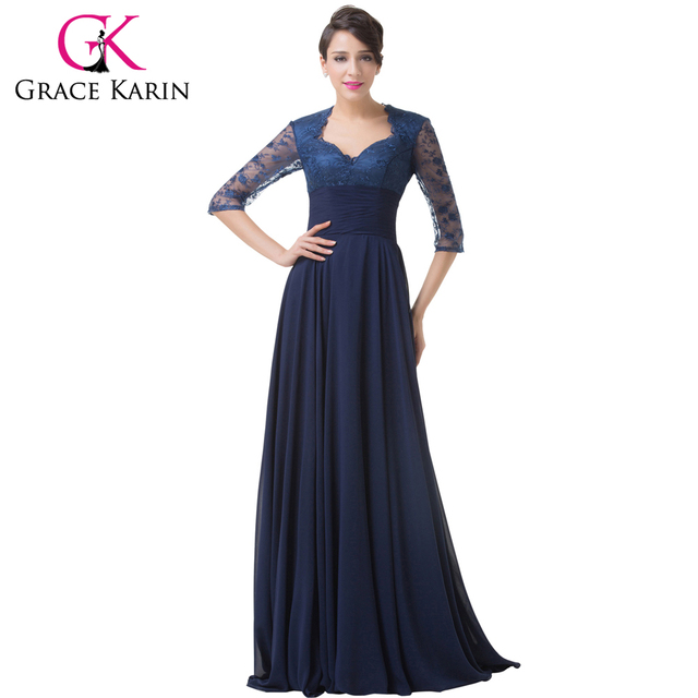 Grace Karin Half Sleeve Evening Dresses Elegant Long Formal Party Prom Gown  Empire Chiffon Navy Blue db41d7812ef6