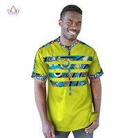 Men shirt Plus Size 2018 African Traditional Print Cotton African Clothing Dashiki Pachwork fabric Men Wedding Shirt WYN210