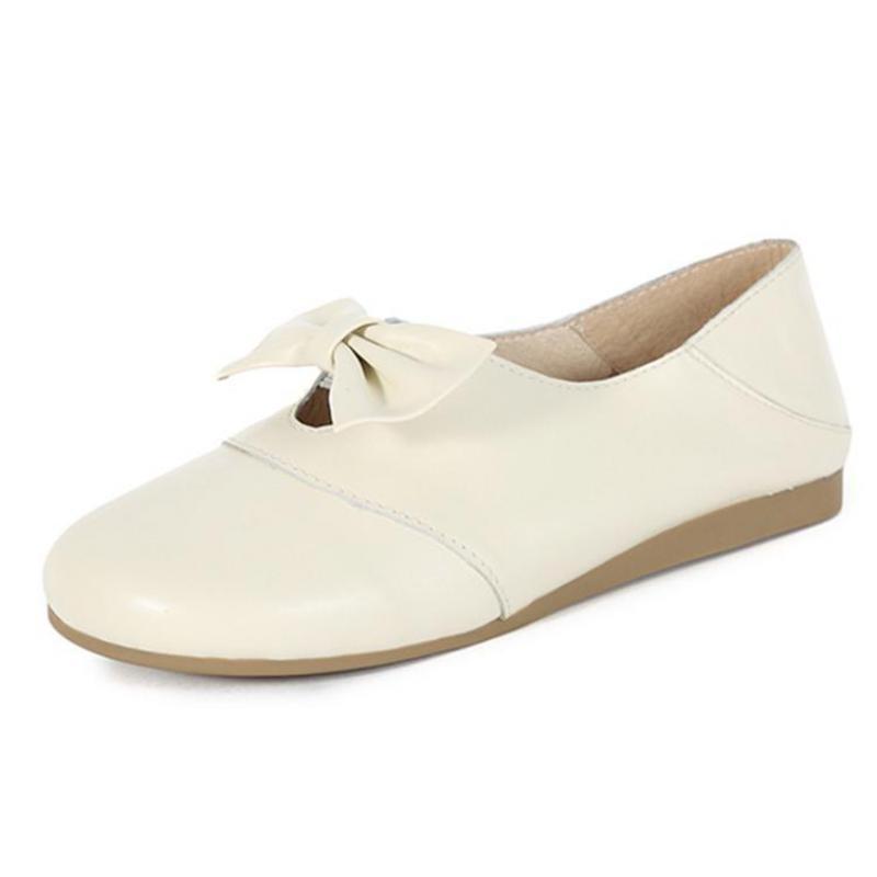 Casuales Suave Genuino Tacón Mujeres Planos Primavera Mujer Las Cuero Bajo A brown Mano Mocasines Ballat Zapatos Blanco Blanco Fondo Hechos De 2019 HA8n7xX