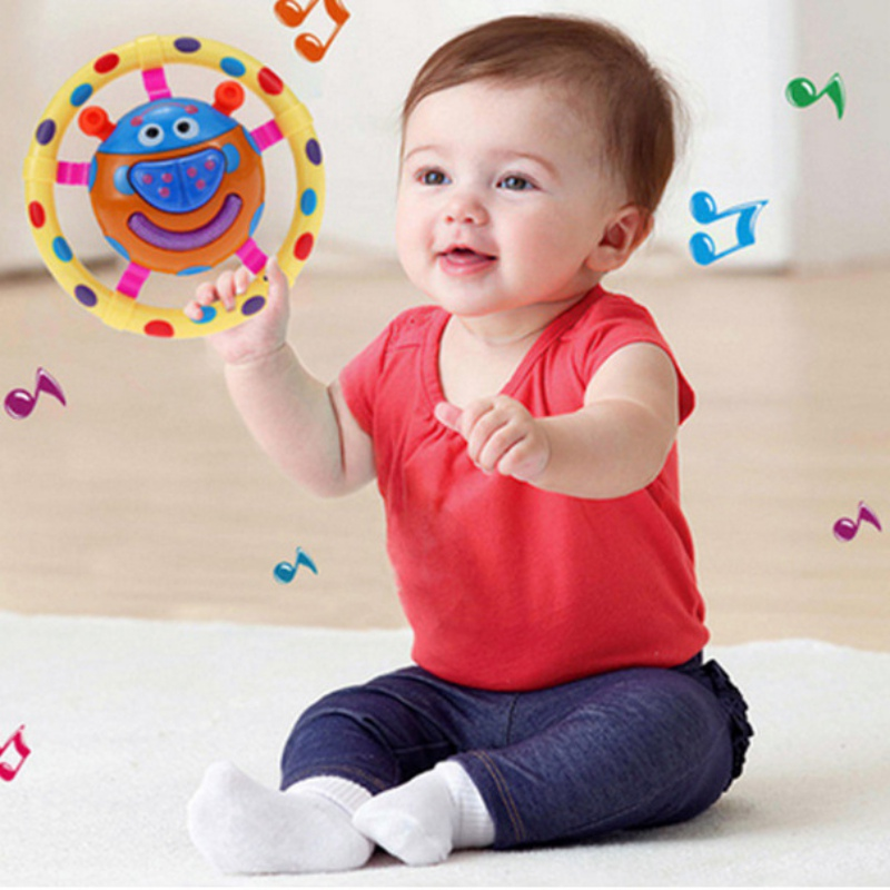 New Infant Baby Rattles Music Toys With Sound And Light Ladybug Shaped Baby Toy Grasping Mobiles Toy For Kids Gift  J2