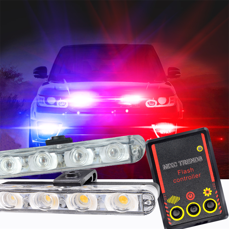 Automobiles Strobe Warning Police Light 8 LED Car Truck Flashing Firemen Ambulance Emergency Flasher DRL Day Running Lights Blue
