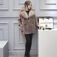 Faux Fur Long Coats Plus Size 2016 Fashion Women Winter Jacket Mink Fox Collar Medium-long Warm Hooded Coat Adjustable Waist