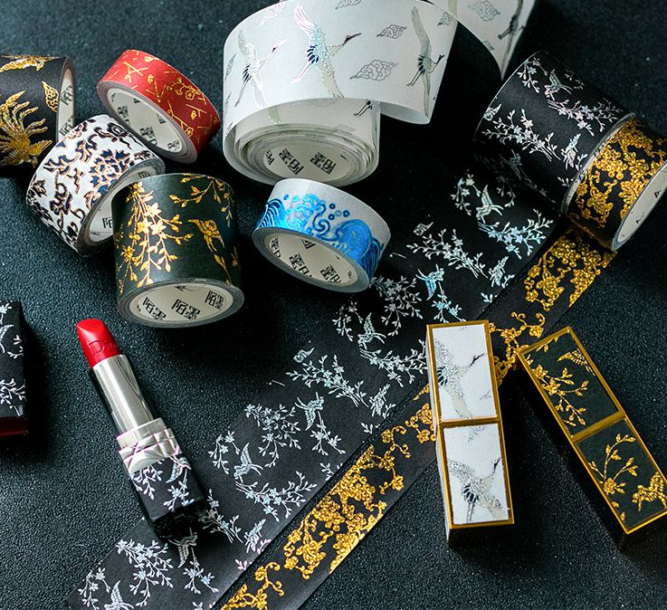 The Royal Chinese Floral Designs Washi Tape Flowers Birds Trees Golden Printed Masking Tape 15mm/20mm/25mm/40mm*5M Free Shipping