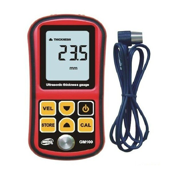 GM100 Digital Ultrasonic Thickness Meter Tester Gauge Velocity 1.2-225mm 5MHz  цены