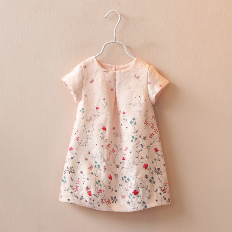 Baby Girl Dress Rose Floral Pattern A-Line Princess Dress Girls European Style Baby Dress Brand Designer Kids Clothes 2-6Y 100% real photo brand kids red heart sleeve dress american and european style hollow girls clothes baby girl clothes