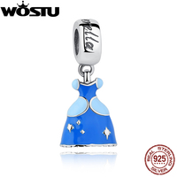 100% 925 Sterling Silver Cinderella's Blue Dress Charm Fit Original WST Bracelet Necklace For Women Authentic Jewelry Gift