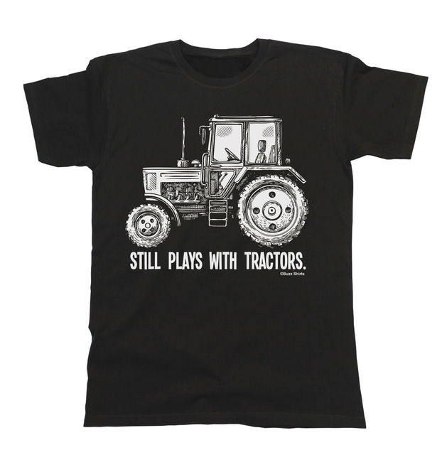 Masih Memainkan dengan Petani TRAKTOR T-Shirt Mens Wanita Unisex Pria yang Lucu Mode Putaran Kerah T-shirt Atas Plus Ukuran