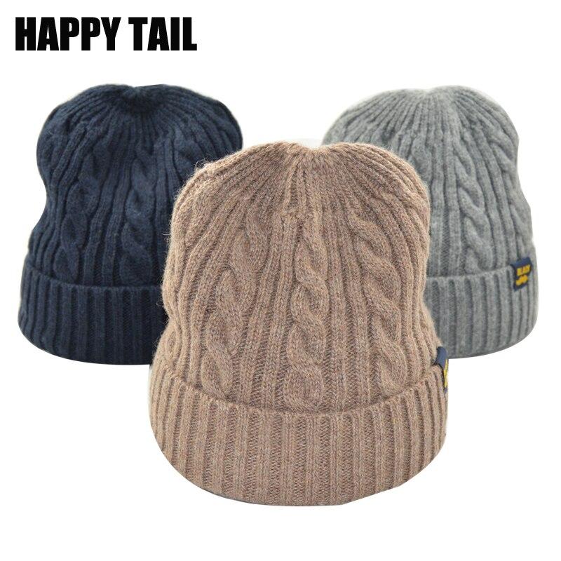 Winter Hats For Women Twist Pattern Mens Knitted Hat Warm Wool