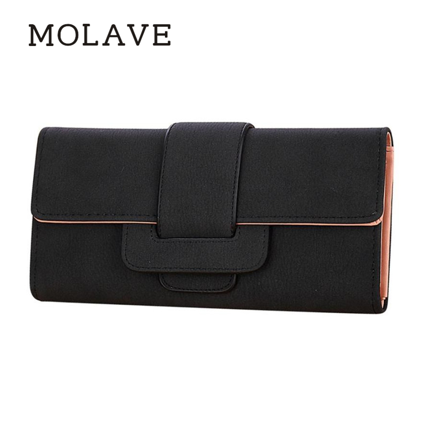 MOLAVE wallets wallet female Solid card holder hasp Women PU Leather Coin Purse Long Wallet Card Holders Handbag Feb11 takem pu leather women hasp long eiffel tower wallet purse female wallets purse card holder coin cash bag portefeuille femme