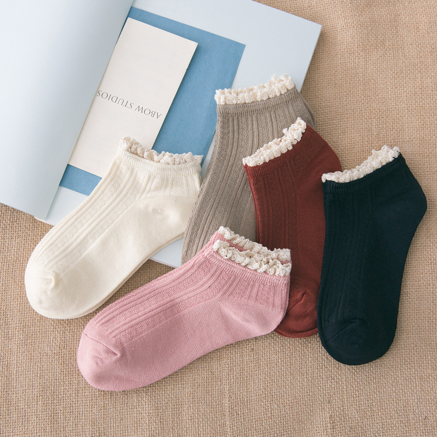 2018 spring summer women socks 5 pair short cotton solid color lace cute ankle high qual ...