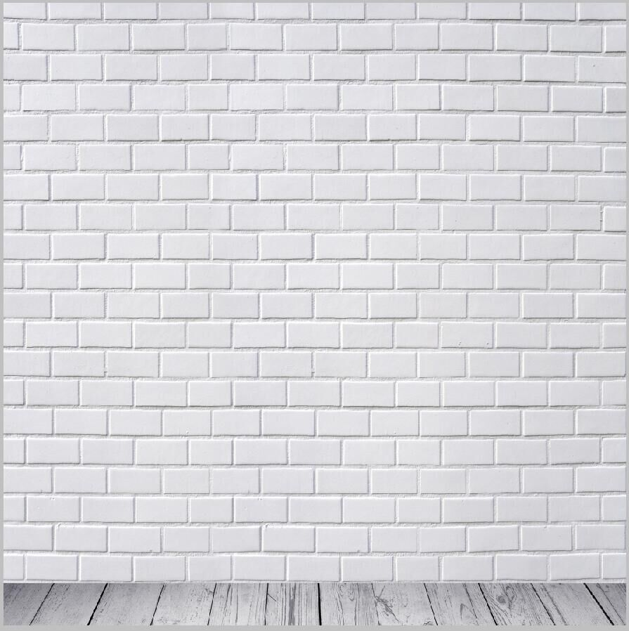 10x10ft Indoor Vintage Floral White Bricks Wall Custom