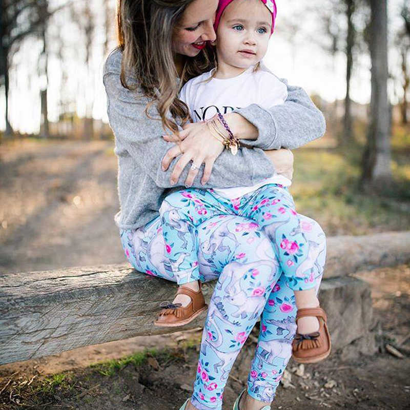 แม่และลูกสาวการจับคู่ชุดกางเกง Family Look แม่ลูกสาวสัตว์พิมพ์กางเกง Mommy และ Me เสื้อผ้า