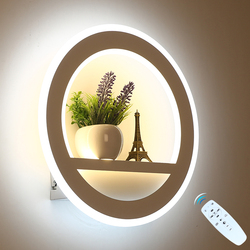 Led lâmpada de parede pode ser escurecido 2.4g controle remoto moderno quarto sala estar decoração iluminação da parede luz com flor e torre 29 w