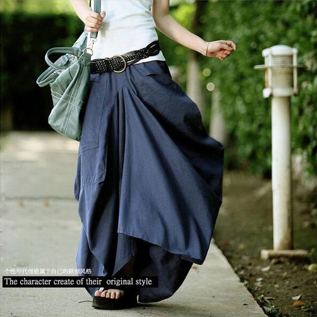 Nuevos Pantalones Casuales 2016 Pantalones de Las Mujeres Diseño Casual Suelta Personalidad Irregular Bolsillo Sólido de Lino Fluido de Lino Pantalones Largos