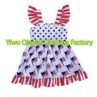 Wholesale Fashion 4th Of July Dress Ruffle Holiday Dress Prettey Baby Girl Dresses