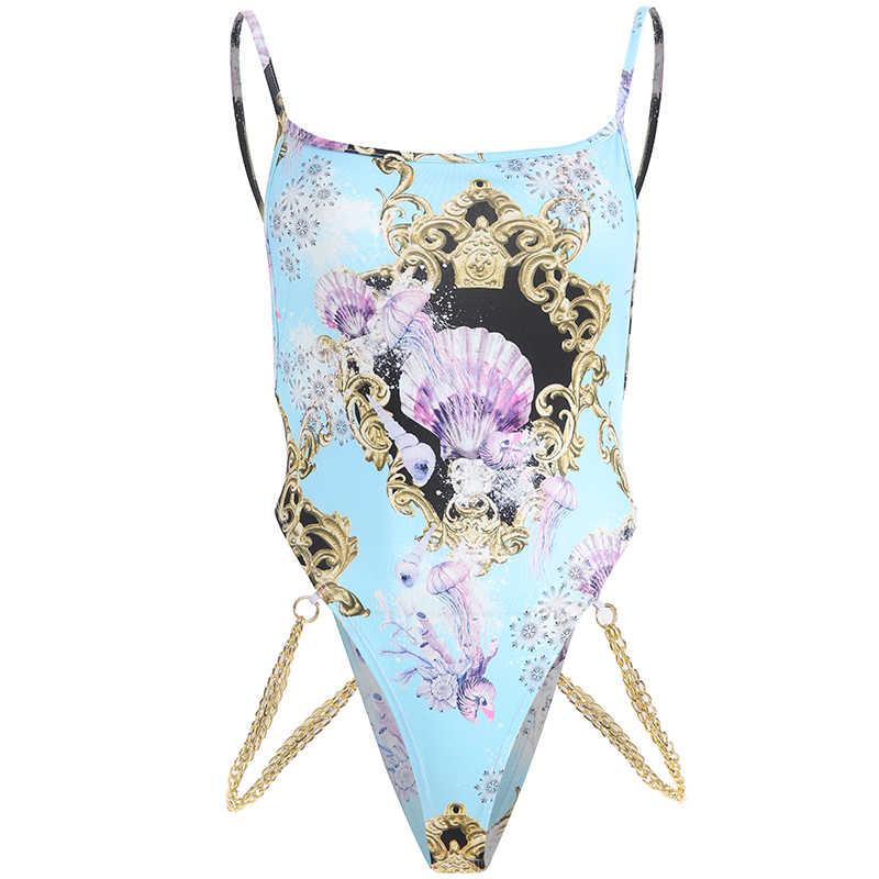 Weekeep пикантное с ремешками с открытой спиной облегающий костюм для женщин 2019 винтажный принт тела женские летние комбинезоны женский комбинезон s