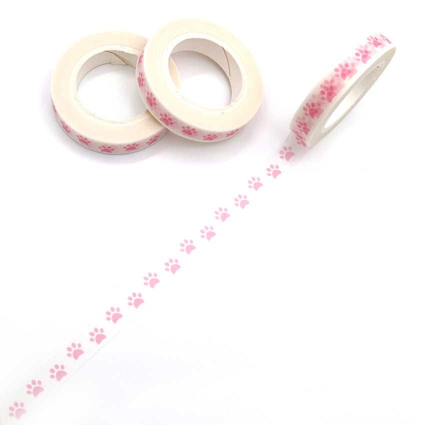 10 m * 8mm Hồng Màu Washi Băng Pastel Dấu Chân Chó Mô Hình Trang Trí Dính Băng Mặt Nạ Giấy Băng 1 PCS