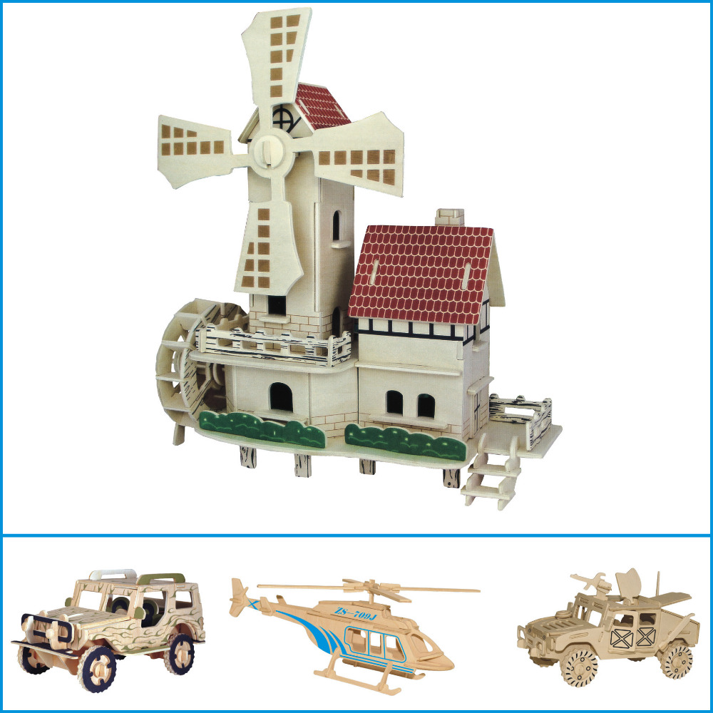 3D Wooden Puzzle Architecture Model Building Toys dutch windmill Children Educational Toy House 3D Jigsaw Brinquedos Kids Gifts