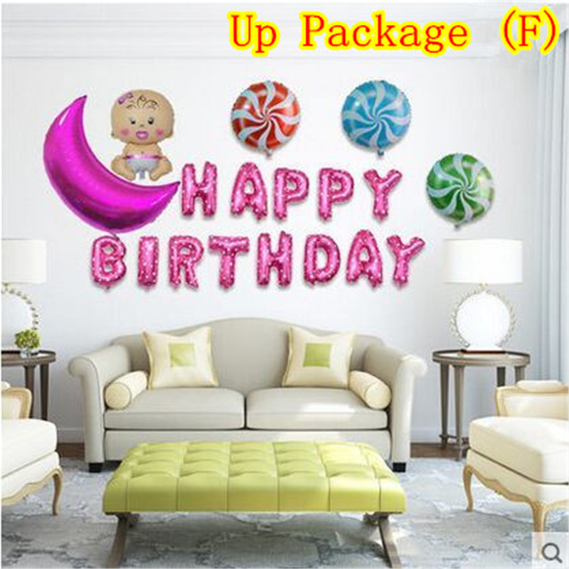 HEY FUNNY 1 Set Cute Happy Birthday Aluminum Foil Balloon Pink&Blue ...