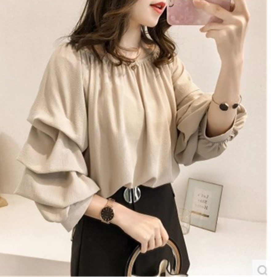 Spring New Pattern Korean Temperament One Word Lead Chiffon Shirt Woman Solid Color 3