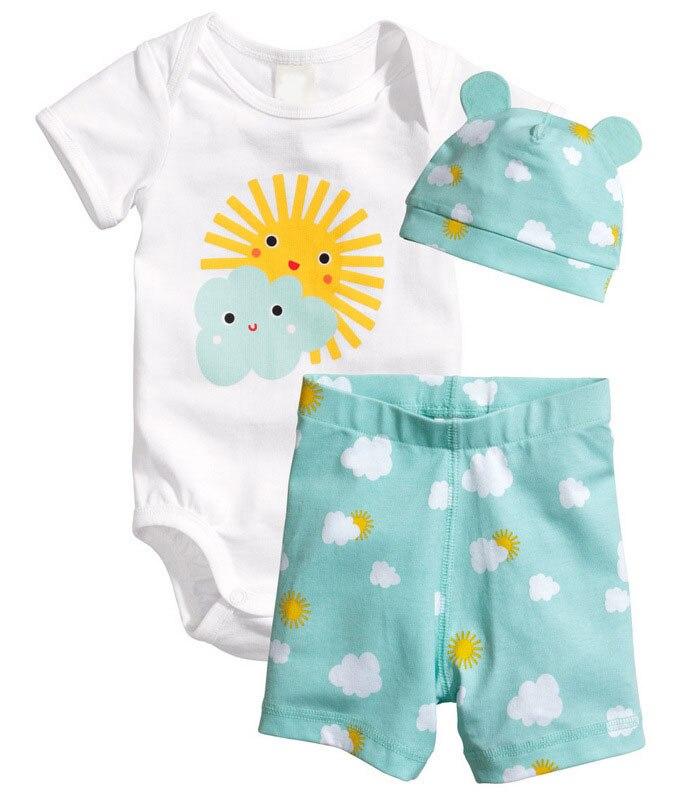 3PCS/0-18Months/Summer Newborn Jumpsuit Romper Baby Tracksuit Clothes Boys Girls Bodysuit+Shorts+Hats Infant Clothing Set BC1090