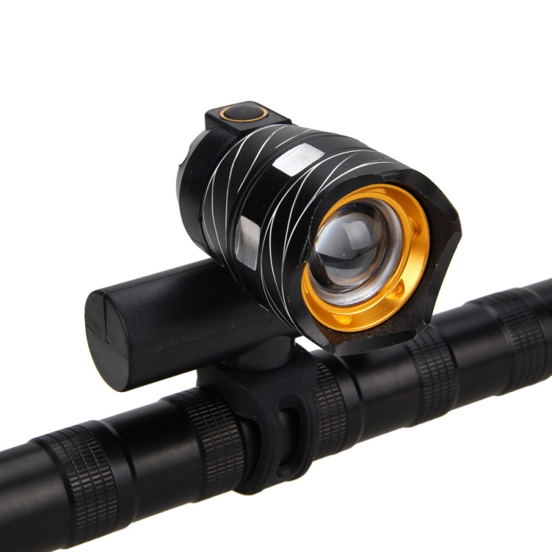 BaseCamp T6 LED Bicycle Light Bike Front Lamp Torch Headlight with USB Rechargeable Built-in Battery Head Tail Taillight Warning