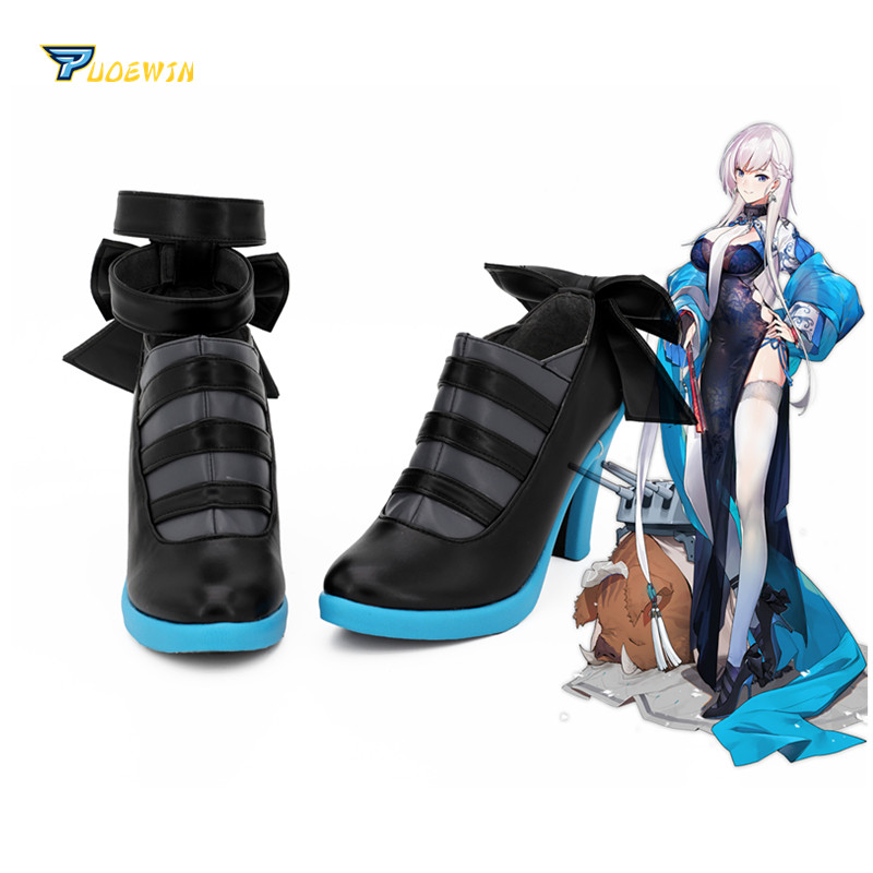 Azur Lane HMS Belfast Spring Shoes Cosplay Boots High Heel Black Boots