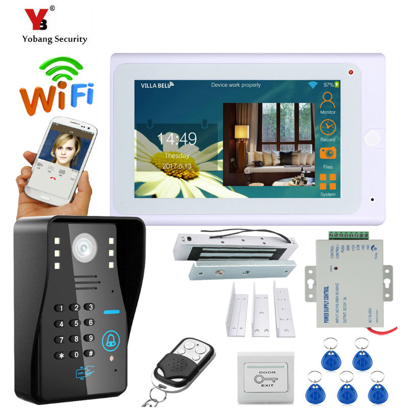 Yobang Security 7 Inch Wired / Wireless Wifi RFID Password Video Door Phone Doorbell Intercom System With Electric Lock 180KG