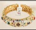 Top Quality Unique Handicraft Cloisonne Designer Bangle 18k Gold Plated Austrian Crystal rhinestone Brand Bracelet Gift Women