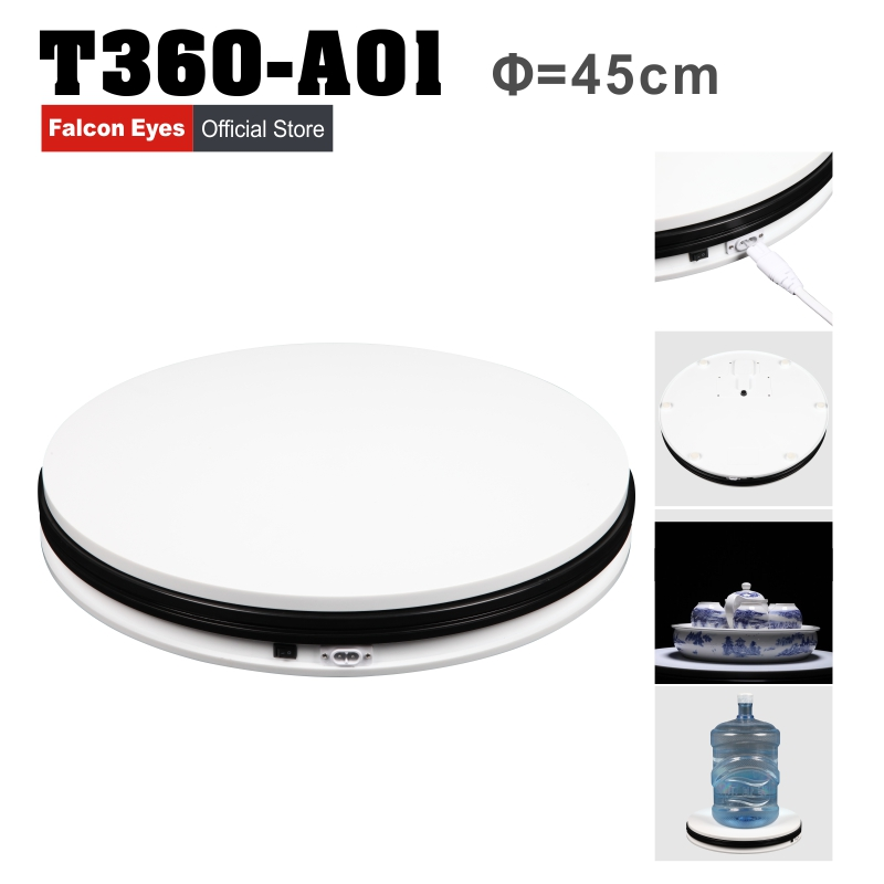 Falcon Eye 14 45cm 360 Degree Electric Rotating Turntable Photography Turntable Max Load 40kg with Led Light T360-A01 intelligent electric turntable for 360 photography speed