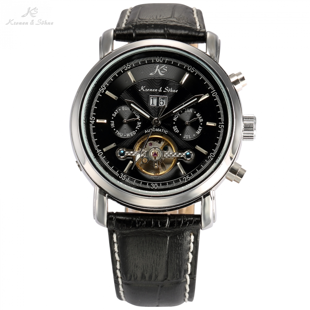 New Classic KS Day Date Automatic Water Resistant Mechanical Tourbillon Black Leather Band Wrist Men Dress Jewelry Watch / KS003 new forcummins insite date unlock proramm