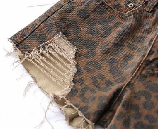 Bazaleas Leopard Pattern Phụ Nữ quần short Cổ Điển Rỗng Ra Botton Cao Eo Demin Quần Short Sexy Lỗ quần short phụ nữ Giản Dị