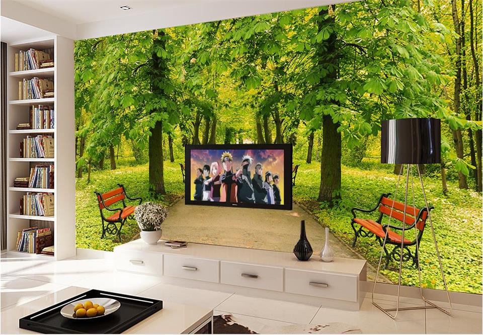 Prime Us 15 0 50 Off Custom 3D Photo Wallpaper Room Mural Boulevard Park Scenic Chair Painting Photo Sofa Tv Background Non Woven Hd Photo Wallpaper In Inzonedesignstudio Interior Chair Design Inzonedesignstudiocom