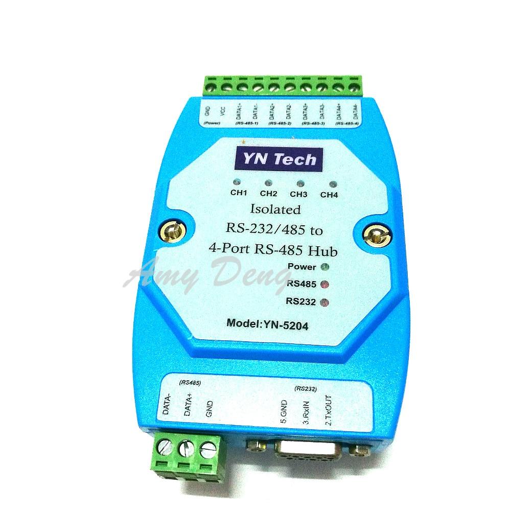 Free Shipping Isolated Bidirectional 4 Port Four Port RS485 Hub Hub Repeater Distributor UT5204
