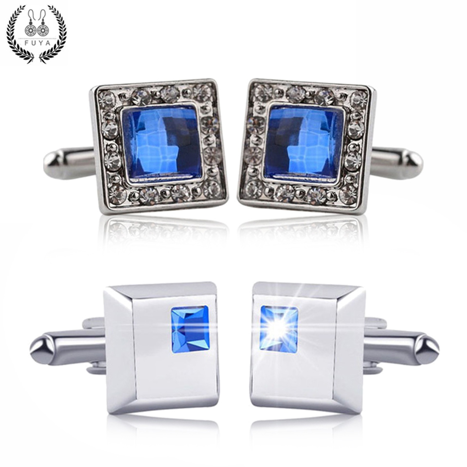 Luxury blue crystal white rhinestones squares cufflinks for mens shirt jewelry Trendy geometric twins cufflinks buttons gifts