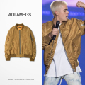 Aolamegs Dark Golden Bomber Jackets Men GD Bieber Korean Fashion Mens MA1 Flight Pilot Outerwear Autumn Spring Baseball Clothing