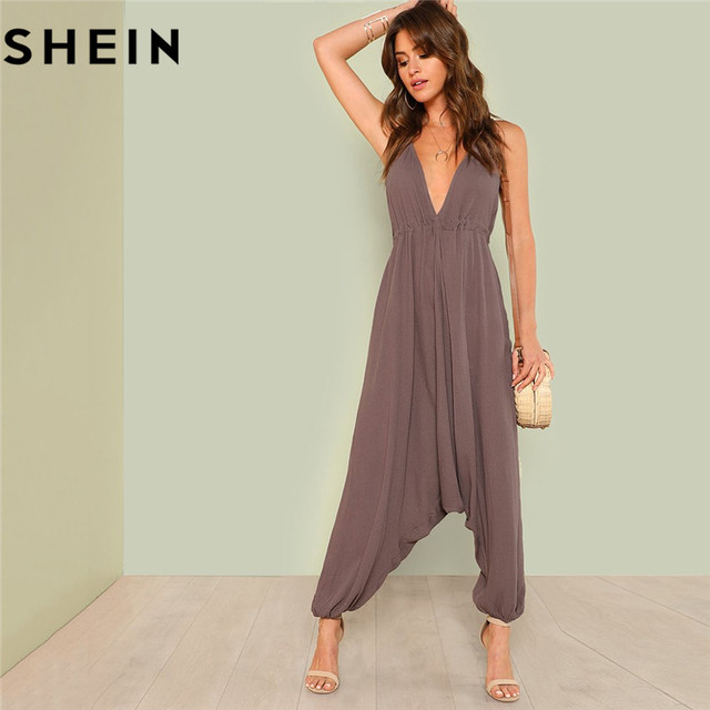 2151c620694 SHEIN Women Brown Sexy Deep V Neck Jumpsuits Long Pants Summer Beachwear  Drawstring Backless Elastic Hem Oversized Cami Jumpsuit