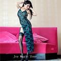 Yomrzl 100% хорошее качество нового прибытия павлин синий sexy кружева женщин пижамы набор 3 шт. набор сна белье LH009