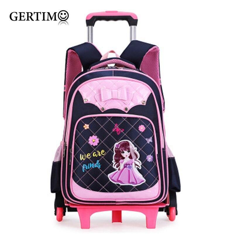 Children Waterproof Cartoon Backpacks on Wheels Primary School Trolley School Bag for Girls Backpack with Wheels