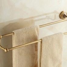 Montado en la pared Retro Vintage latón antiguo baño toalla doble barra toalla soporte baño accesorio mba028